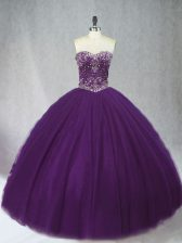 Fabulous Purple Ball Gowns Tulle Sweetheart Sleeveless Beading Floor Length Lace Up Quinceanera Gowns