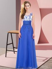 Free and Easy Royal Blue Empire Chiffon Scoop Sleeveless Appliques Floor Length Backless Quinceanera Dama Dress