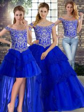 Sleeveless Beading and Lace Lace Up Quinceanera Dresses with Royal Blue Brush Train