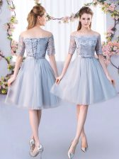 Superior Grey Empire Lace and Belt Quinceanera Court of Honor Dress Lace Up Tulle Short Sleeves Knee Length