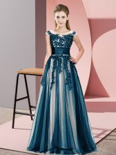 Navy Blue Court Dresses for Sweet 16 Wedding Party with Beading and Lace Scoop Sleeveless Zipper