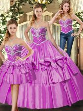 Lilac Lace Up Ball Gown Prom Dress Beading and Ruffled Layers Sleeveless Floor Length