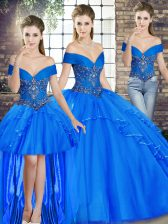 Colorful Floor Length Royal Blue Ball Gown Prom Dress Tulle Sleeveless Beading and Ruffles