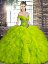 Simple Beading and Ruffles 15 Quinceanera Dress Olive Green Lace Up Sleeveless Floor Length