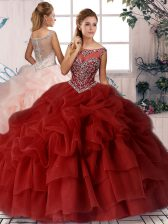 Wine Red Ball Gowns Organza Scoop Sleeveless Beading and Pick Ups Zipper Quinceanera Gown Brush Train