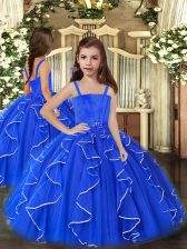 Gorgeous Straps Sleeveless Lace Up Little Girl Pageant Dress Royal Blue Tulle