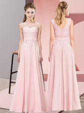 Baby Pink Sleeveless Chiffon Zipper Damas Dress for Wedding Party