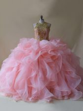 Great Scoop Sleeveless Organza Sweet 16 Quinceanera Dress Beading and Ruffles Brush Train Backless