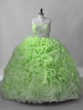Top Selling Sweetheart Sleeveless Quinceanera Gowns Brush Train Beading Fabric With Rolling Flowers