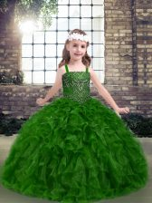Classical Floor Length Lace Up Little Girls Pageant Dress Green for Party and Sweet 16 and Wedding Party with Beading