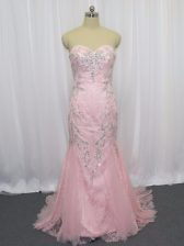 Tulle Sweetheart Sleeveless Brush Train Zipper Beading Prom Party Dress in Pink