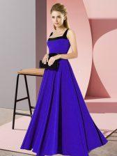 Empire Dama Dress Blue Square Chiffon Sleeveless Floor Length Zipper