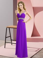 Purple Sleeveless Chiffon Criss Cross Prom Party Dress for Prom and Party