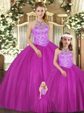 Customized Fuchsia Lace Up Sweet 16 Quinceanera Dress Beading Sleeveless Floor Length
