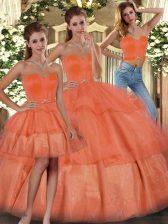 Sleeveless Floor Length Ruffled Layers Lace Up Sweet 16 Dresses with Orange
