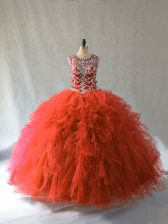 Inexpensive Floor Length Orange Red Quince Ball Gowns Scoop Sleeveless Lace Up