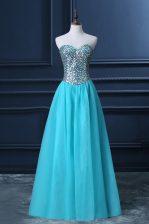 Customized Aqua Blue Sweetheart Neckline Beading Dress for Prom Sleeveless Zipper
