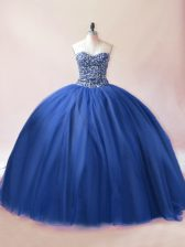 Beading Sweet 16 Quinceanera Dress Blue Lace Up Sleeveless Floor Length