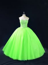 Cheap Tulle Sweetheart Sleeveless Lace Up Beading Quinceanera Dress in