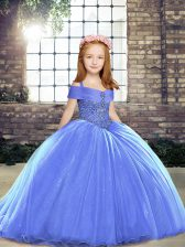 Blue Sleeveless Beading Lace Up Little Girls Pageant Dress