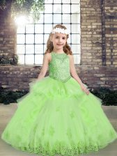 Unique Tulle Lace Up Custom Made Pageant Dress Sleeveless Floor Length Lace and Appliques