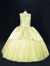 Ball Gowns Vestidos de Quinceanera Yellow Green Scoop Tulle Sleeveless Lace Up