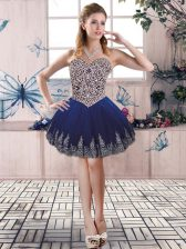 Fitting Royal Blue Homecoming Dress Prom and Party with Beading and Embroidery Sweetheart Sleeveless Lace Up