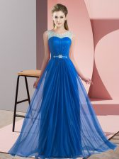 Captivating Blue Lace Up Court Dresses for Sweet 16 Beading Sleeveless Floor Length