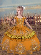Brown Sleeveless Satin Lace Up Pageant Dress Toddler for Wedding Party