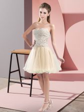 Champagne Sleeveless Beading Mini Length Homecoming Dress