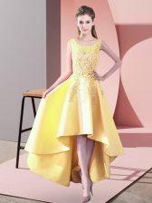 High Low Yellow Vestidos de Damas Satin Sleeveless Lace