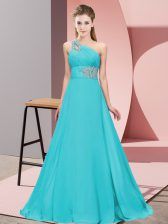Best Sleeveless Floor Length Lace Up Prom Dresses in Aqua Blue with Beading
