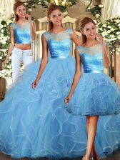 Baby Blue Sleeveless Floor Length Lace and Ruffles Backless Quinceanera Dress
