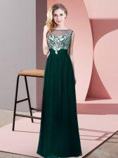 Eye-catching Floor Length Peacock Green Evening Dress Chiffon Sleeveless Beading