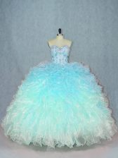 Classical Multi-color Quinceanera Gowns Sweet 16 and Quinceanera with Beading and Ruffles Sweetheart Sleeveless Lace Up
