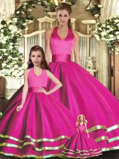 Sleeveless Ruffled Layers Lace Up Quinceanera Dress with Fuchsia