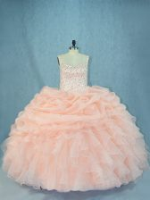 Peach Quinceanera Gowns Organza Sleeveless Beading