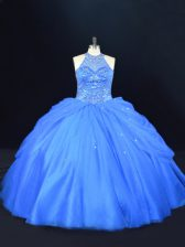 Charming Blue Ball Gowns Halter Top Sleeveless Tulle Floor Length Lace Up Beading Vestidos de Quinceanera