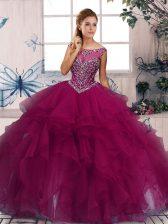 Suitable Sleeveless Beading and Ruffles Zipper Quinceanera Dresses