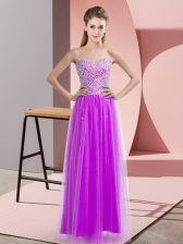 Sexy Lilac Sleeveless Tulle Lace Up Prom Evening Gown for Prom and Party