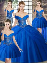 Free and Easy Brush Train Ball Gowns Quinceanera Dress Royal Blue Off The Shoulder Tulle Sleeveless Lace Up