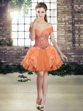 Popular Mini Length Ball Gowns Sleeveless Orange Prom Evening Gown Lace Up