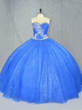 Enchanting Tulle Sweetheart Sleeveless Lace Up Beading Sweet 16 Dress in Blue