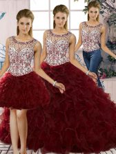 Three Pieces Quinceanera Gown Burgundy Scoop Organza Sleeveless Floor Length Lace Up
