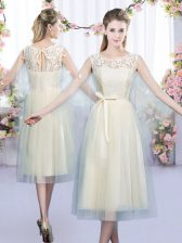 Lace and Belt Damas Dress Champagne Lace Up Sleeveless Tea Length