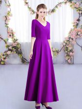 Adorable Satin Half Sleeves Ankle Length Quinceanera Court of Honor Dress and Ruching
