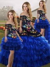 Embroidery and Ruffled Layers Sweet 16 Dresses Blue And Black Lace Up Sleeveless Floor Length