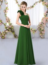 Cheap Chiffon Straps Sleeveless Lace Up Hand Made Flower Quinceanera Court of Honor Dress in Dark Green