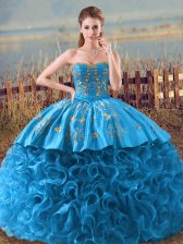 Gorgeous Baby Blue Sleeveless Fabric With Rolling Flowers Brush Train Lace Up Vestidos de Quinceanera for Sweet 16 and Quinceanera