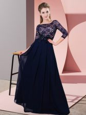 Beautiful Chiffon 3 4 Length Sleeve Floor Length Vestidos de Damas and Lace and Belt